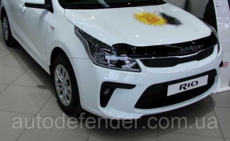 Дефлектор капота (Люкс!) мухобойка KIA Rio 2017-2020 sedan, hatchback, SIM, SKIRIO1712