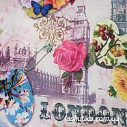 49002 Лондон - Париж. Ткань с текстом. Декоративная ткань для творчества., фото 2