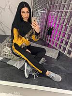 a6bec685e2b Трикотажный женский спортивный костюм с вставками леопардовыми F-905569