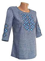 Джинсова вишита блуза для дівчинки підлітка з рукавом 3/4, фото 1