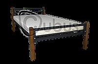Кровать односпальная металлическая Хайтек комбо (черный мат)