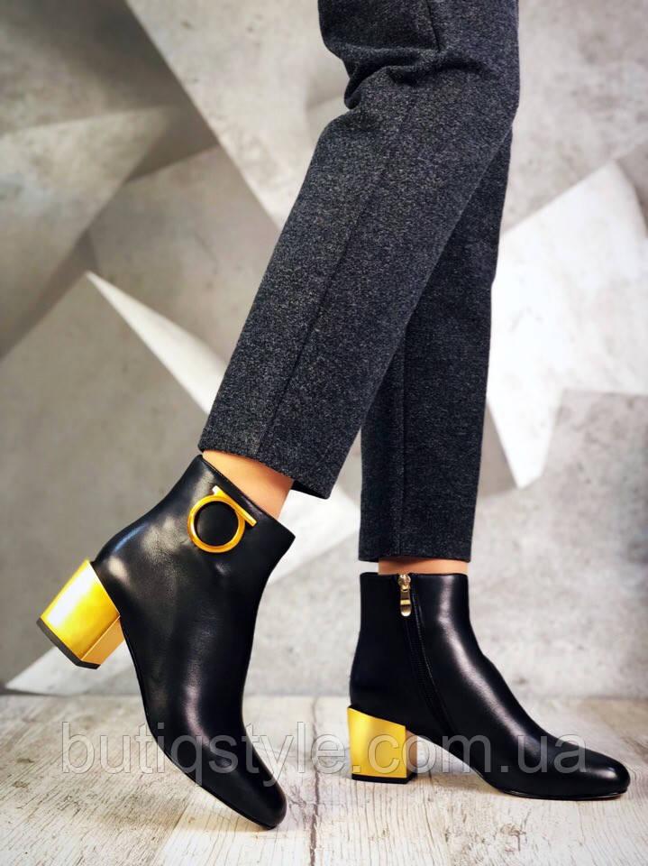 35, 37 размер! Женские черные ботинки на ярком каблуке натуральная кожа деми 2019