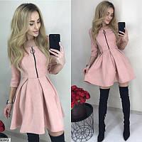 Замшевое короткое платье женское демисезонное 42-46 размеров, 2 цвета