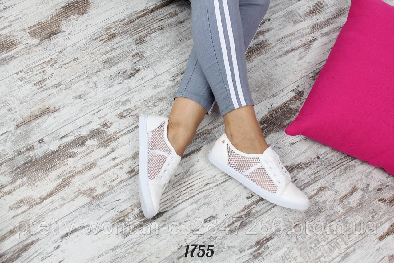 Кеды Fashion Цвет: белый  Размеры: 36-41(маломер)  Материал : эко-кожа + сетка