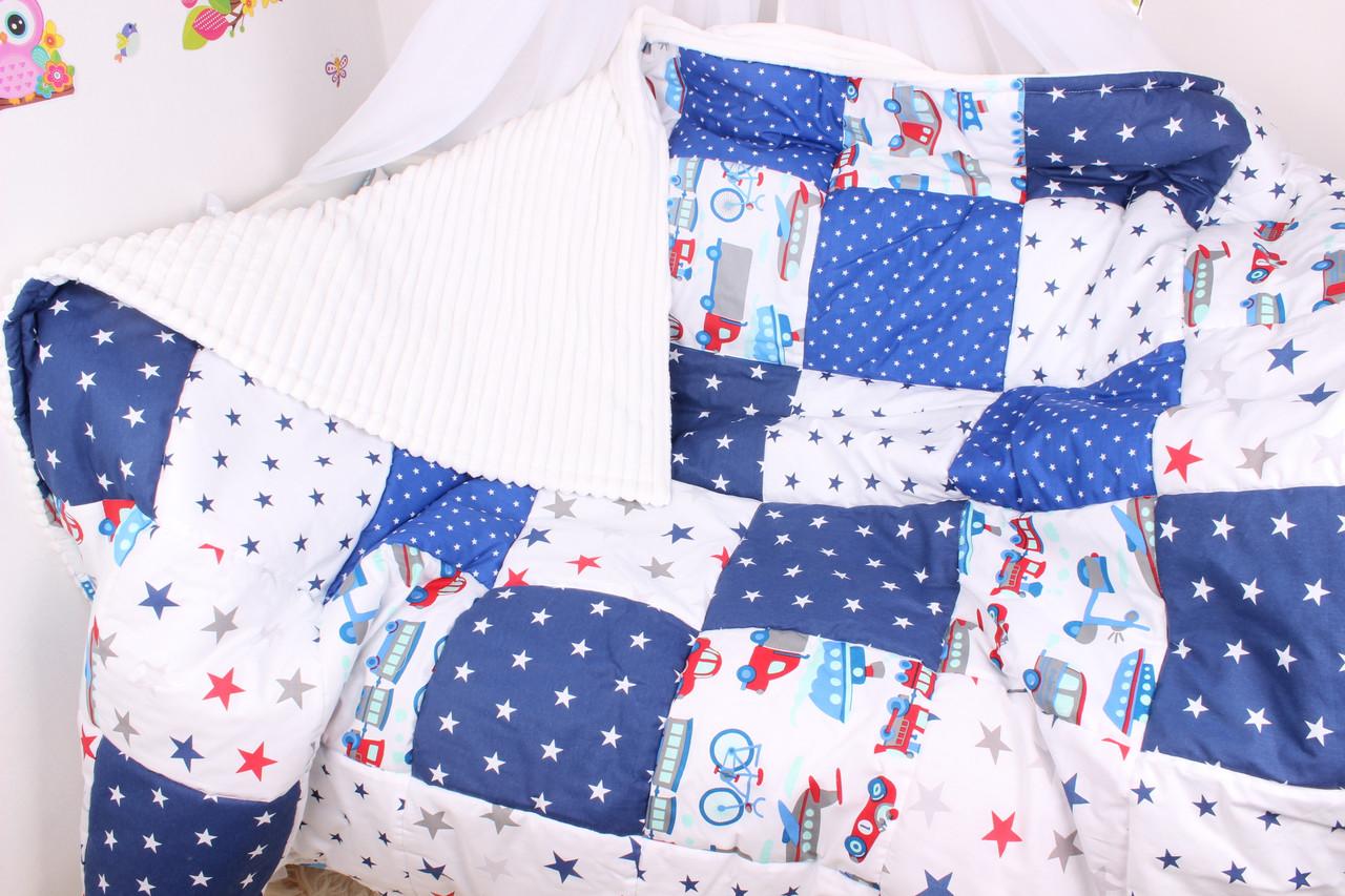 Детское теплое одеяло машинки с синим