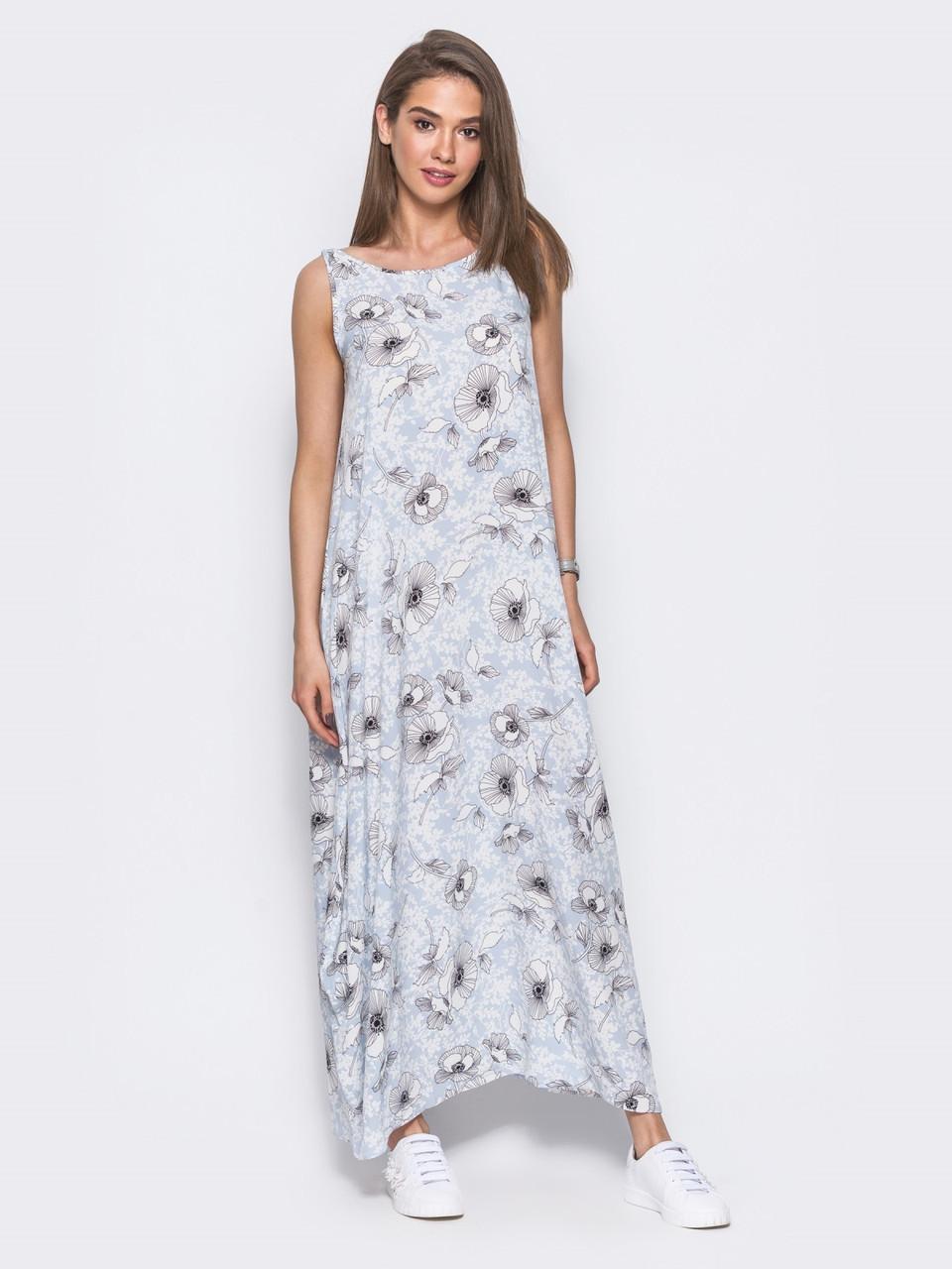 ce788c437ca8c70 🔘️Длинное летнее платье без рукавов (с цветочным принтом, расклешенное) /  44-