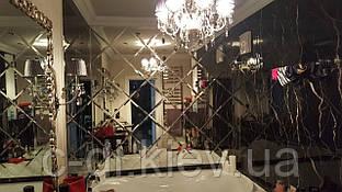 Зеркальное панно с фасетом (зеркало бронза)