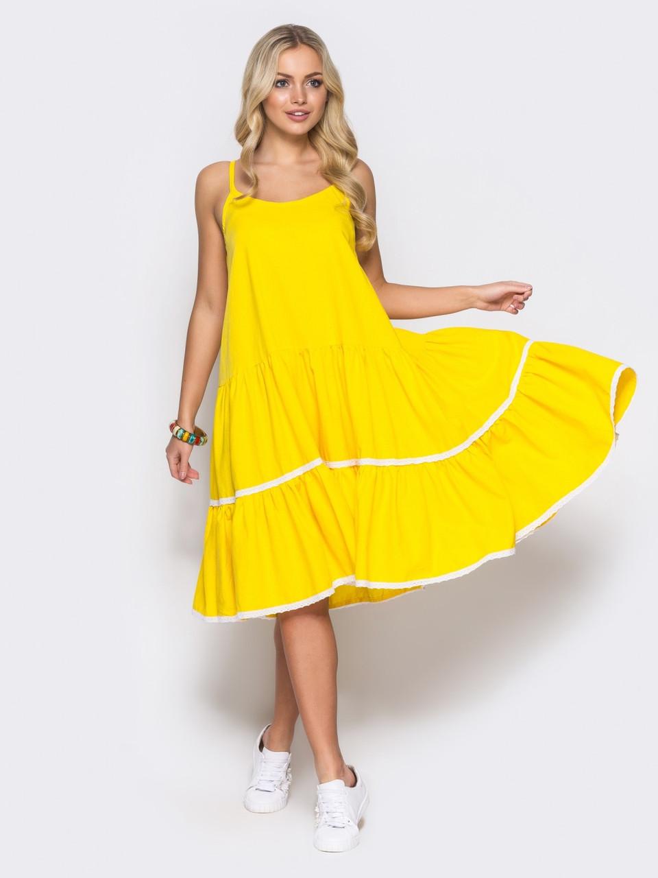 129c8627c87c 🔘️Льняное платье на узких бретелях (желтое, на лето) / 44-46,48-50 ...