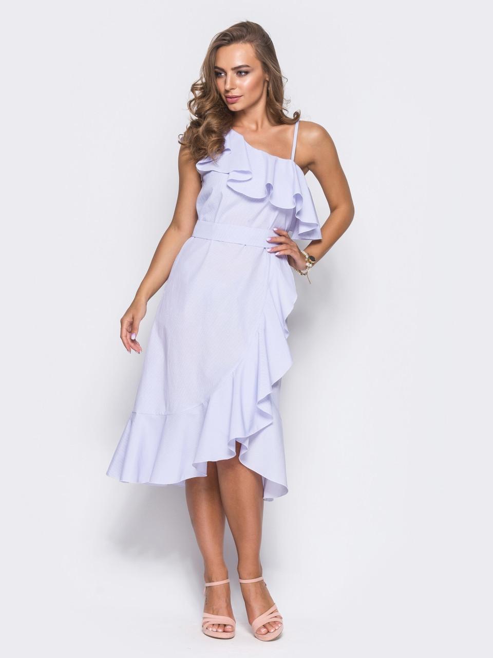 f7e5d886c41 🔘️Элегантное летнее платье с воланами (белое
