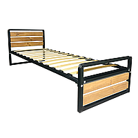 Кровать односпальная металлическая Хайтек Lux (черный мат)