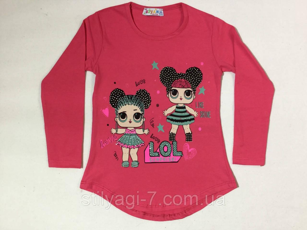 Батник для девочки на 3-6 лет серого, малинового, бирюзового, молоко, персикового цвета лол оптом