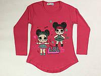 Батник для девочки на 3-6 лет серого, малинового, бирюзового, молоко, персикового цвета лол оптом, фото 1