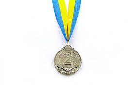 Медаль спорт d-5см С-4871-2 сереброTRIUMF (25g, на ленте)