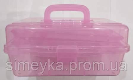 Органайзер-чемодан розкладний для фурнітури з ручкою і 2 висувними поличками всередині. Рожевий