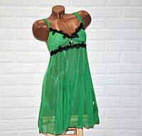 Зеленый комплект ночного женского белья, сексуальная сорочка пеньюар сетка и трусы стринги, размер L