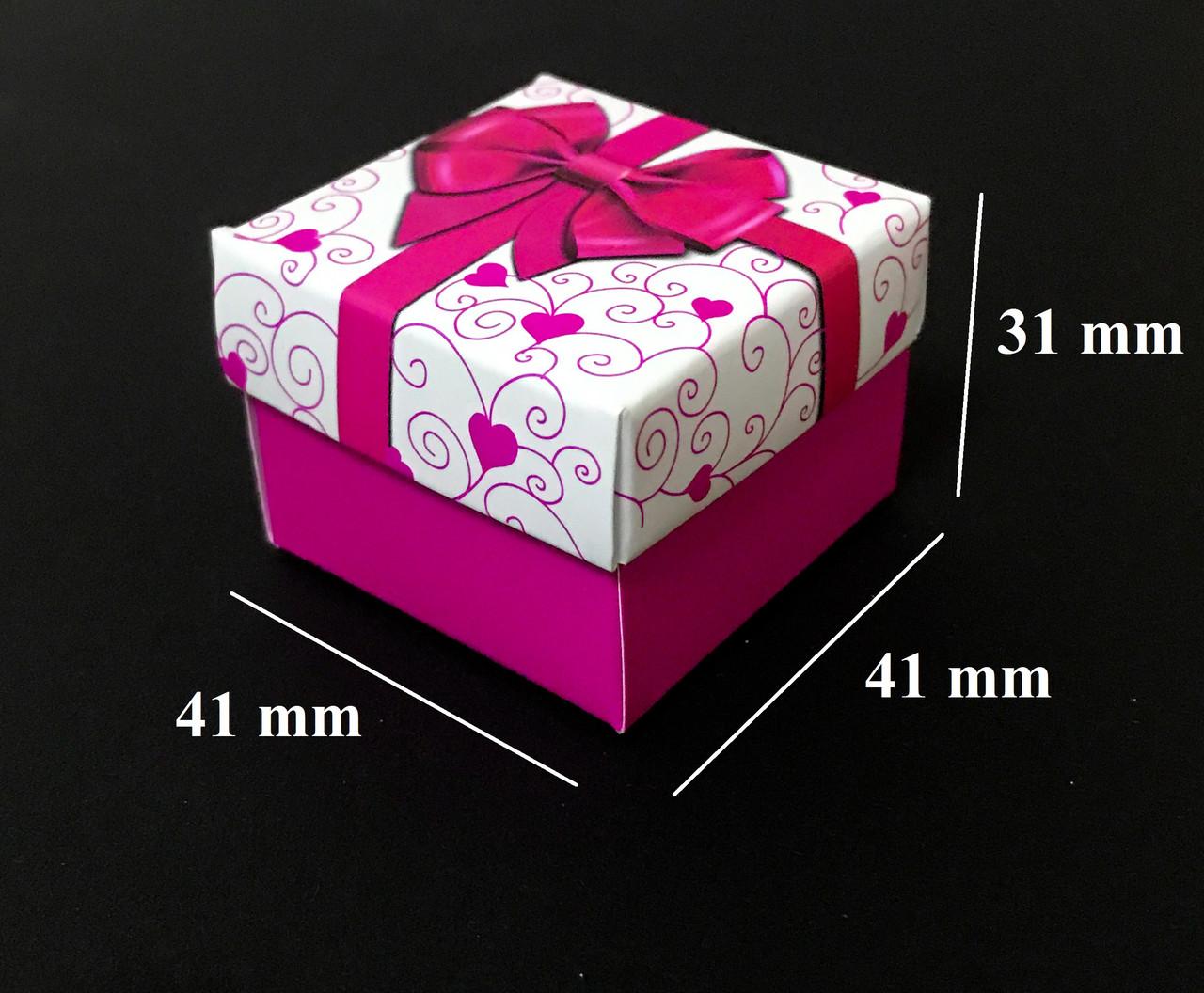 Подарочная коробочка для колец и сережек, розовая