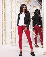 Женские итальянские джинсы скинни красного цвета