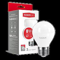 Лампа LED шарик MAXUS G45 F 8W 4100K 220V E14 1-LED-5416