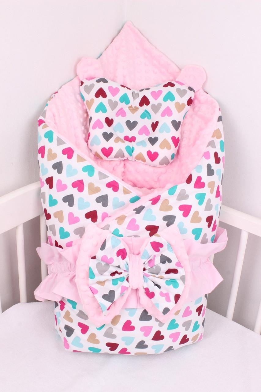 Конверт-одеяло на выписку  сердечки