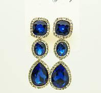 Королевская бижутерия, праздничные длинные серьги с крупными цветными кристаллами оптом