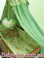 """Акция! Постельное бельё в детскую кроватку """"Элит мишки с пчелками салатовое"""" 10 эл."""