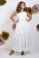 Женское летнее платье-сарафан белый произ-во Индия без рукавов (размеры 46,48,50,52)
