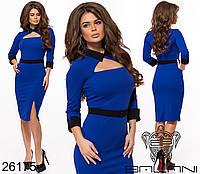 Элегантное платье футляр с треугольным вырезом на груди размеры S-L, фото 1