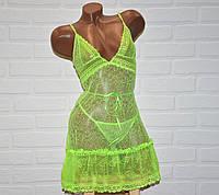 Комплект откровенного ночного женского белья, салатовый секси пеньюар платье кружево и трусы стринги, размер M