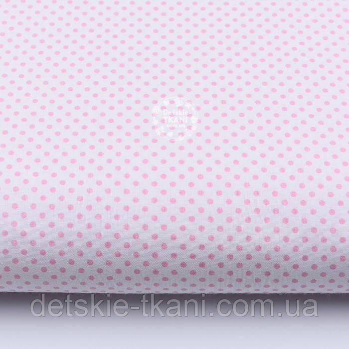 """Ткань хлопковая """"Пунктирный горошек"""" бледно-розовый на белом (№1920)"""
