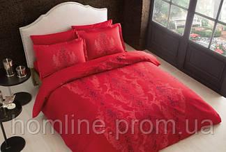 Постельное белье Tac сатин Delux Mauna kirmizi v04 красный семейного размера