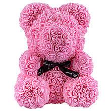 Мишка из искусственных 3D роз 40см Розовый PR5