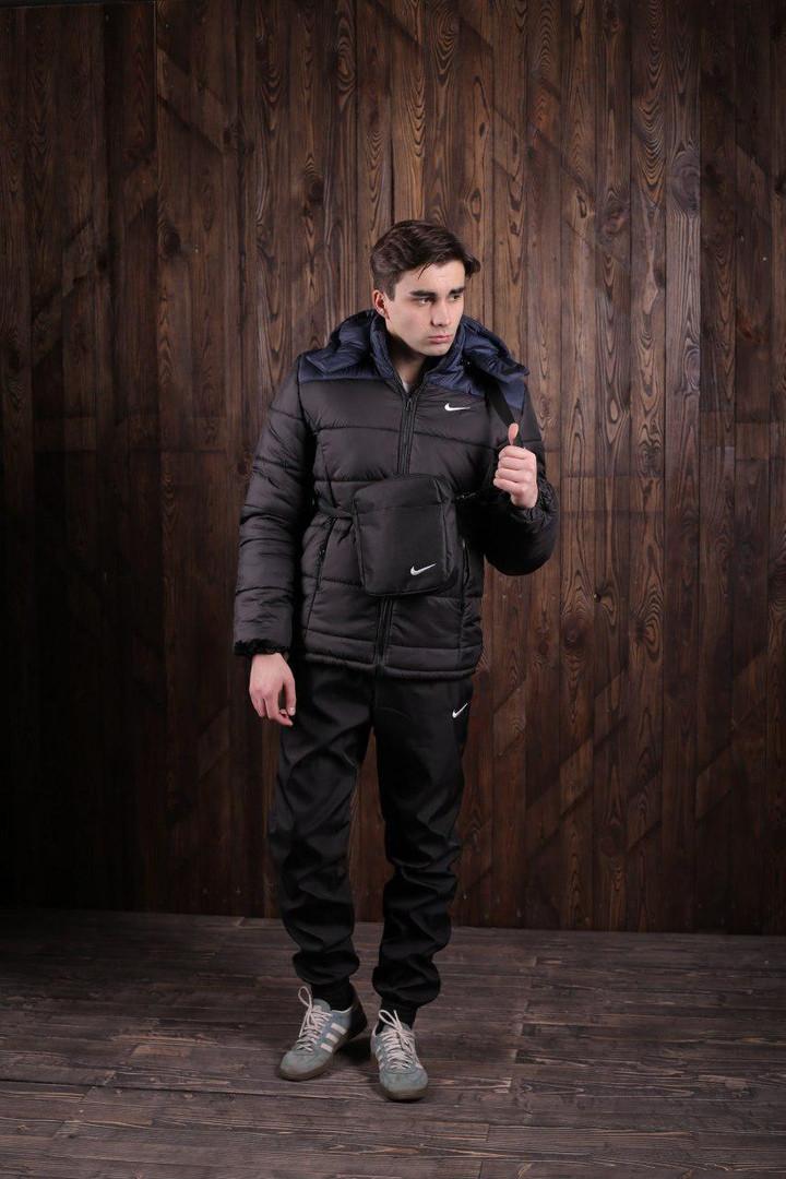 Мужской весенний спортивный комплект - костюм Nike (куртка+штаны, БАРСЕТКА В ПОДАРОК)  (Реплика ААА)