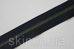 Молния металлическая рулонная YКК , размер № 5, тесьма - черная, цвет зубьев - антик, артикул СК 5374