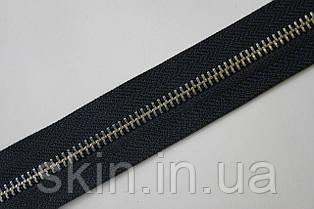 Молния металлическая рулонная YКК , размер № 5, тесьма - черная, цвет зубьев - никель, артикул СК 5372