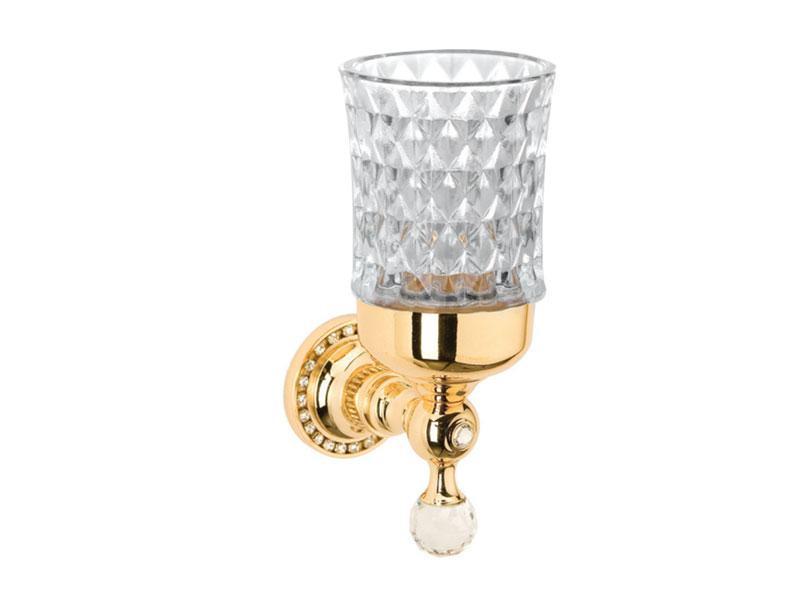 Стакан для зубных щеток настенный KUGU Swan стекло Золото