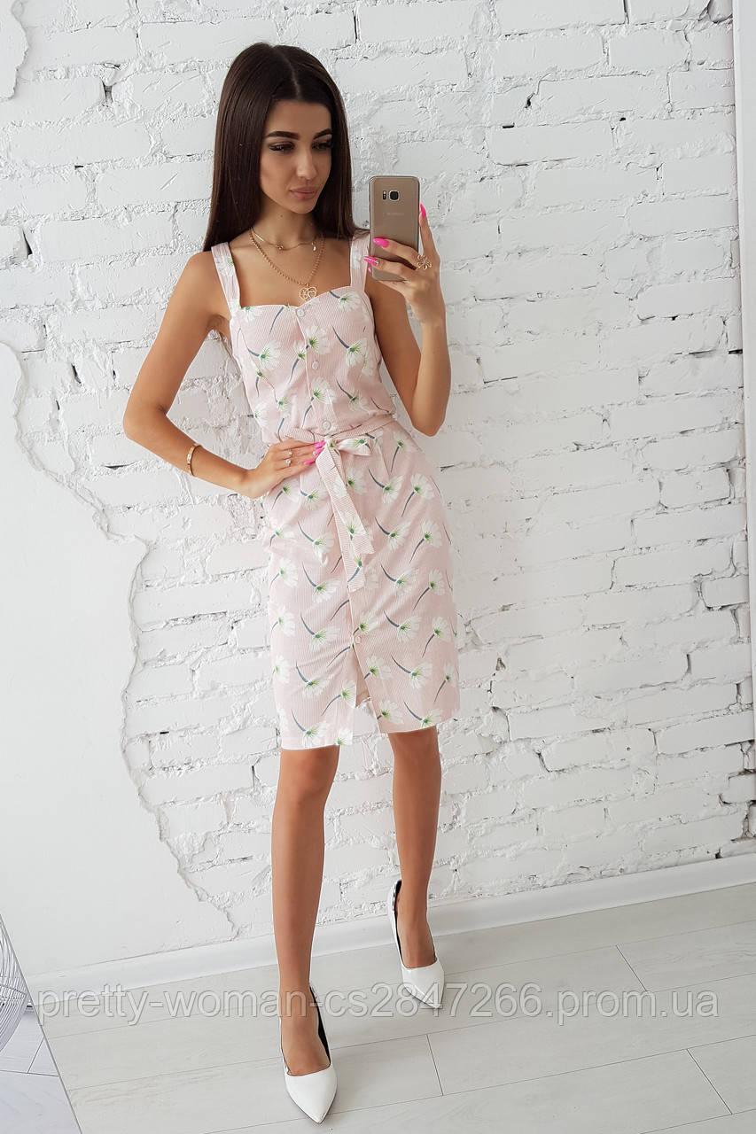 Льняное платье футляр в ромашку