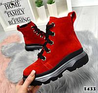Красные демисезонные замшевые ботинки