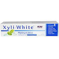 Now Foods, Solutions, Xyli-White, гелевая зубная паста с гидрокарбонатом натрия, без фтористых соединений, Мята Platinum, 6.4 унций (181 г)