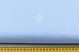 """Ткань хлопковая """"Пунктирный горошек"""" белый на голубом (№1928), фото 2"""