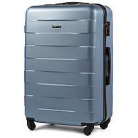 Большой ударостойкий дорожный чемодан на 4 колесах фирма Wings (голубое серебро)