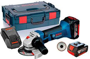 Аккумуляторная болгарка Bosch GWS 18-125 LI + SDS гайка + з/у GAL 1860 CV + 2 x акб GBA 18V 4 Ah + L-boxx (060193A30D)