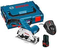 Аккумуляторная дисковая пила Bosch GKS 12V-26 + з/у GAL 1230 CV + 2 x акб GBA 12V 2 Ah + чемодан L-boxx (06016A1000)