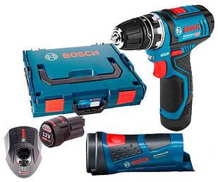Аккумуляторная дрель-шуруповерт Bosch GSR 12V-15 + фонарь GLI PowerL + з/у GAL 1230 CV + 2 x акб GBA 12V (0615990FZ9)