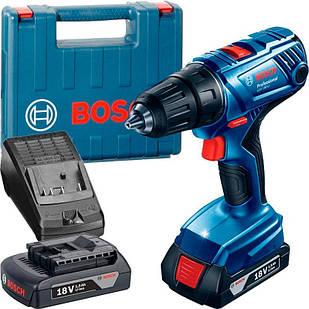 Акумуляторна дриль-шуруповерт Bosch GSR 180-Li + з/у AL 1814 CV + 2 x акб GBA 18V 1.5 Ah + валіза (06019F8100)