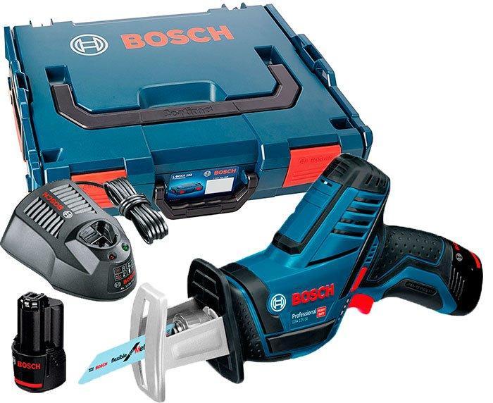 Аккумуляторная сабельная пила Bosch GSA 12V-14 + з/у GAL 1230 CV + 2 x акб GBA 12V 2 Ah + чемодан L-boxx (060164L972)