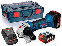 Аккумуляторная угловая шлифмашина Bosch GWS 18-125 LI + з/у GAL 1860 CV + 2 x акб GBA 18V 4 Ah + L-boxx (060193A30B)