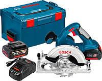 Аккумуляторная циркулярная пила Bosch GKS 18 V-Li + з/у AL 1880 CV + 2 x акб GBA 18V 5 Ah + чемодан L-boxx (060166H008)