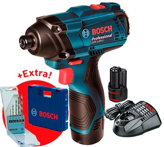 Аккумуляторный гайковерт Bosch GDR 120-LI + з/у AL 1115 CV + 2акб GBA 12V 1.5 Ah + набор сверл + чемодан (06019F0005)