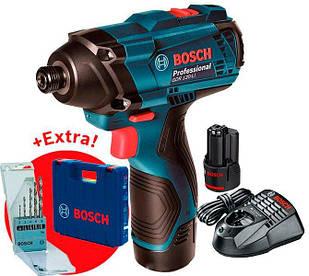 Аккумуляторный гайковерт Bosch GDR 120-LI + з/у AL 1115 CV + 2×акб GBA 12V 1.5 Ah + набор сверл + чемодан (06019F0005)