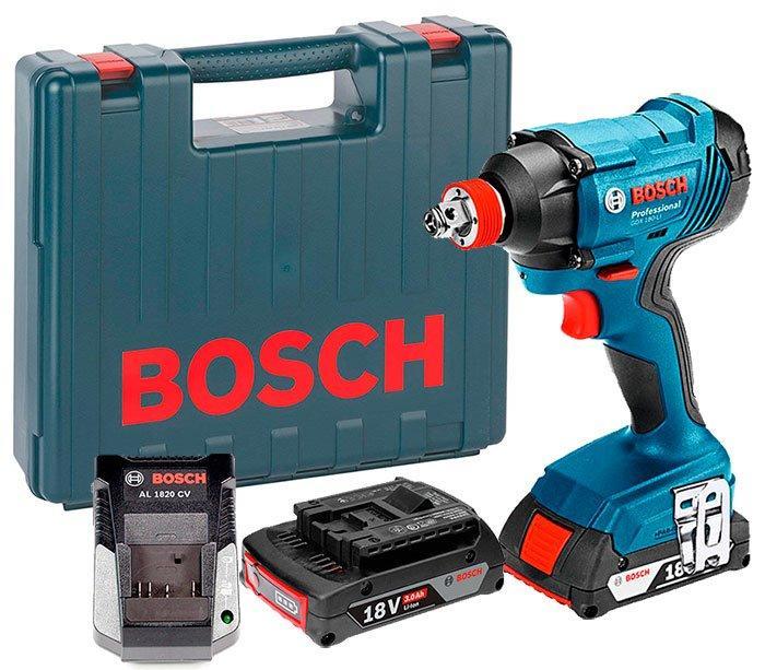 Аккумуляторный гайковерт Bosch GDX 180-LI + з/у AL 1820 CV + 2 акб GBA 18V 3.0 Ah + чемодан (06019G5220)